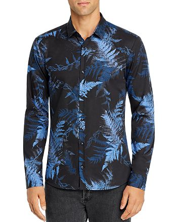 HUGO - Ero Fern-Print Slim Fit Button-Down Shirt - 100% Exclusive