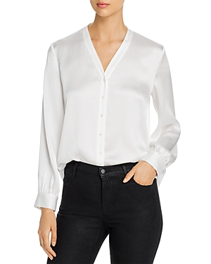 Eileen Fisher SILK BUTTON-FRONT BLOUSE