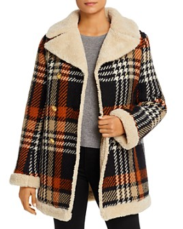 Tory Burch - Faux-Shearling-Lined Plaid Coat