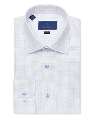 David Donahue Windowpane Jacquard Trim Fit Dress Shirt-Men