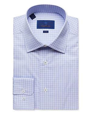 David Donahue Tonal Plaid Trim Fit Dress Shirt-Men