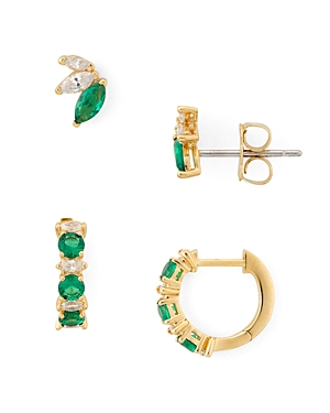 Nadri Loa Huggie Hoop & Stud Earrings Set