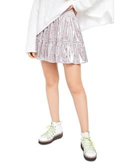 Free People - In A Bubble Metallic Mini Skirt