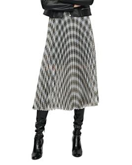 Maje - Junga Pleated Plaid Skirt