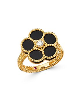 Roberto Coin - 18K Yellow Gold Daisy Black Onyx & Diamond Ring - 100% Exclusive