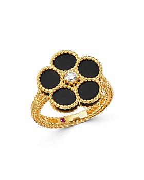 Roberto Coin - 18K Yellow Gold Daisy Black Onyx & Diamond Ring - 100% Exclusive