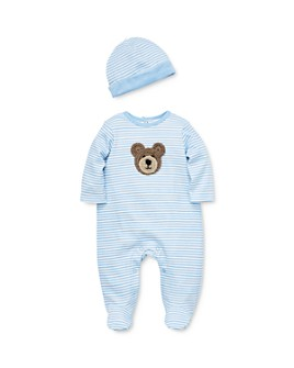 Little Me - Boys' Crocheted Bear Footie & Hat Set - Baby