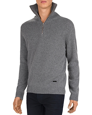 The Kooples Leather Trimmed Half-Zip Sweater