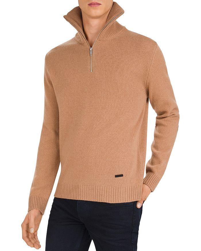 The Kooples - Leather-Trimmed Half-Zip Sweater