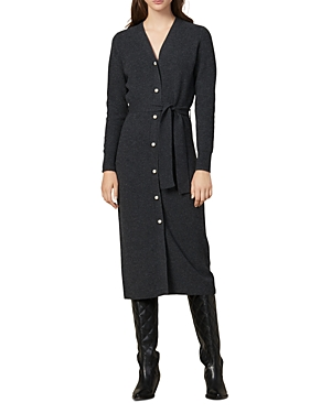 Sandro Dresses COSY BELTED WOOL & CASHMERE MIDI DRESS