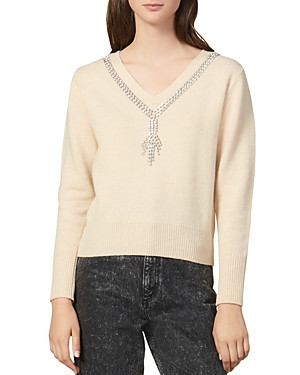 Sandro Sweaters VENICE EMBELLISHED WOOL SWEATER
