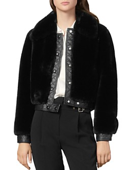 Sandro - Fauny Leather-Trimmed Faux-Fur Coat