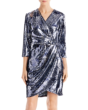 Laundry by Shelli Segal Sequined Faux-Wrap Dress - 100% Exclusive