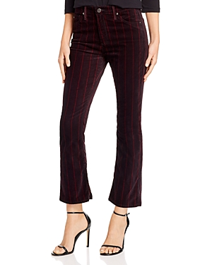 Ag Jodi Crop Flare Velvet Jeans in Delos Stripe Port Wine/Magenta Margot-Women