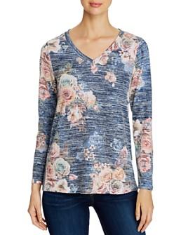 Cupio - Heathered Floral Print Long-Sleeve Top
