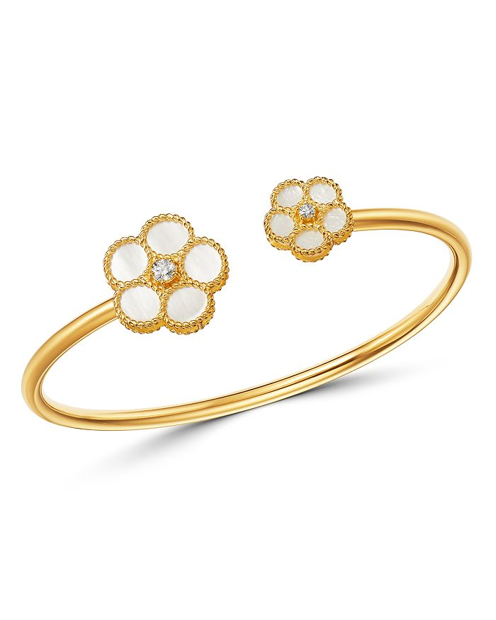 Roberto Coin - 18K Yellow Gold Daisy Diamond & Mother-of-Pearl Bangle Bracelet - 100% Exclusive
