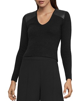 BCBGMAXAZRIA - Faux-Leather-Patch Sweater