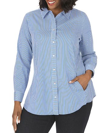 Foxcroft Plus - Cici Non-Iron Stretch Pinstriped Tunic