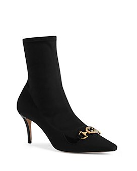 Gucci - Women's Gucci Zumi Mid-Heel Leather Ankle Booties