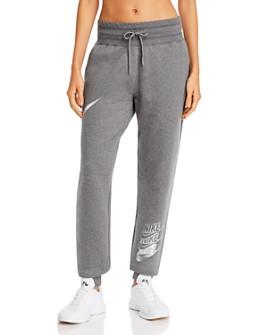 Nike - Metallic-Logo Fleece Sweatpants