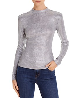 Ramy Brook - Quincy Metallic Ribbed-Knit Mock Neck - 100% Exclusive