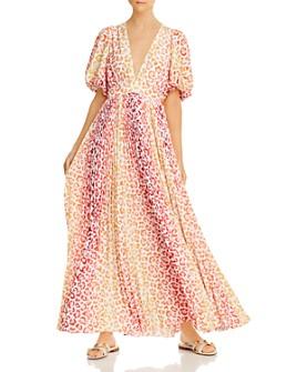 Rococo Sand - Avana Leopard Print Puff-Sleeve Maxi Dress