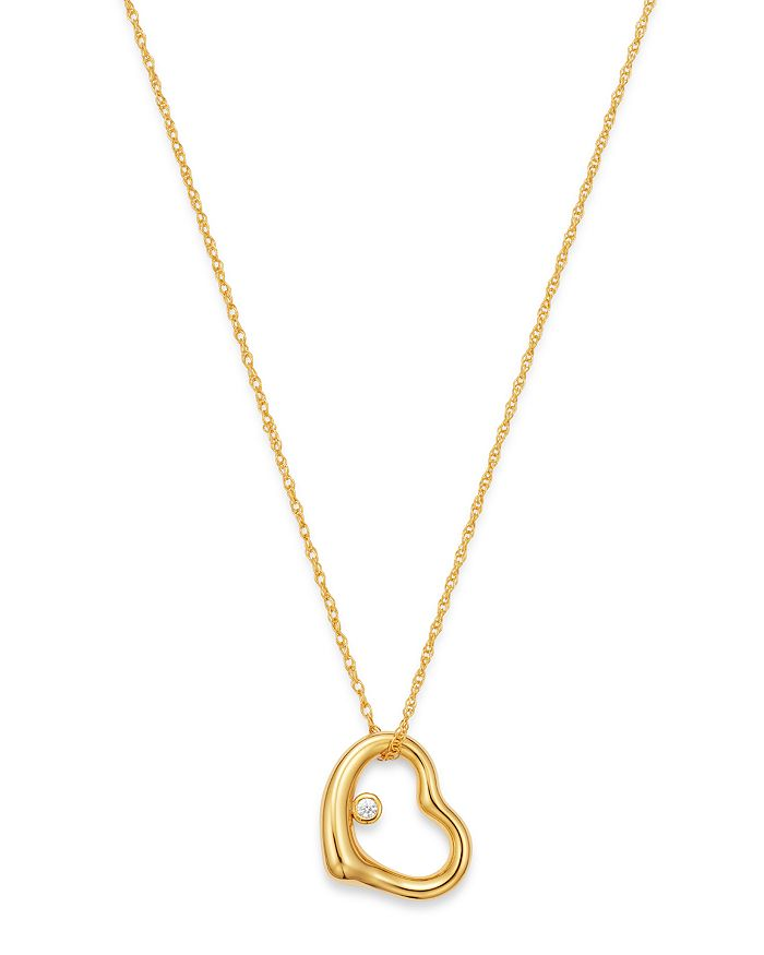 """Bloomingdale's - Diamond Open Heart Pendant Necklace in 14K Yellow Gold, 18"""" - 100% Exclusive"""