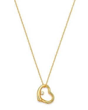 Diamond Open Heart Pendant Necklace in 14K Yellow Gold