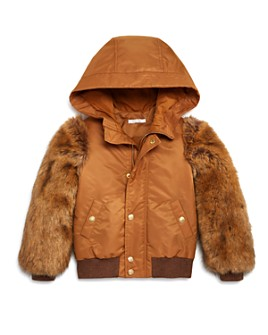 Chloé - Girls' Faux Fur-Sleeve Bomber Jacket - Big Kid