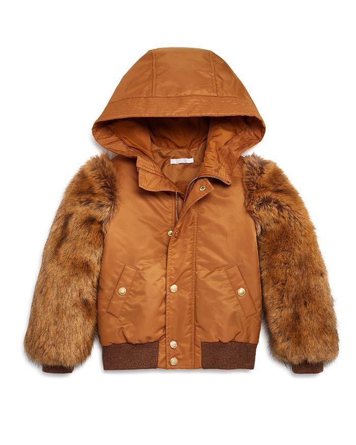 Chloé - Girls' Faux Fur-Sleeve Bomber Jacket - Big Kid