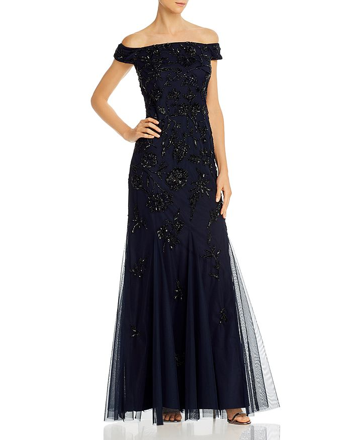 Adrianna Papell - Beaded Off-the-Shoulder Gown