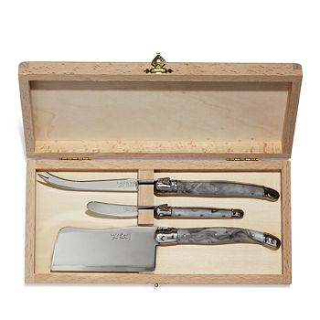 Laguiole Jean Dubost - Three-Piece Marble-Handle Cheese Knife Set