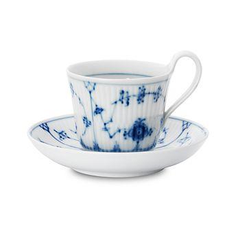 """Royal Copenhagen - """"Blue Fluted Plain"""" High Handle Tea Cup & Saucer"""