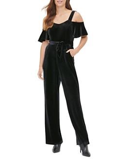 Calvin Klein - Velvet Cold-Shoulder Jumpsuit