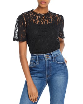 AQUA - Floral Lace Top - 100% Exclusive
