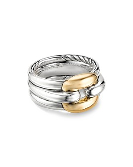 David Yurman - Sterling Silver Thoroughbred Cushion Link Ring with 18K Yellow Gold