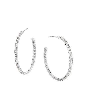 David Yurman - Sterling Silver Medium Hoop Earrings with Pavé Diamonds