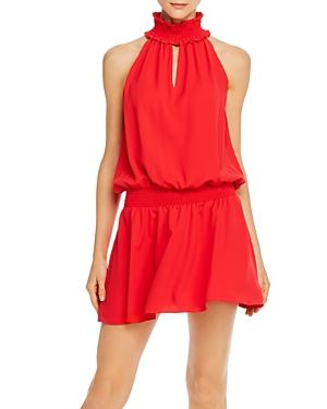 Amanda Uprichard Kimmie Smocked Sleeveless Mini Dress In Lipstick