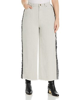 Marina Rinaldi - Radiale Frayed Wide-Leg Ankle Jeans in White