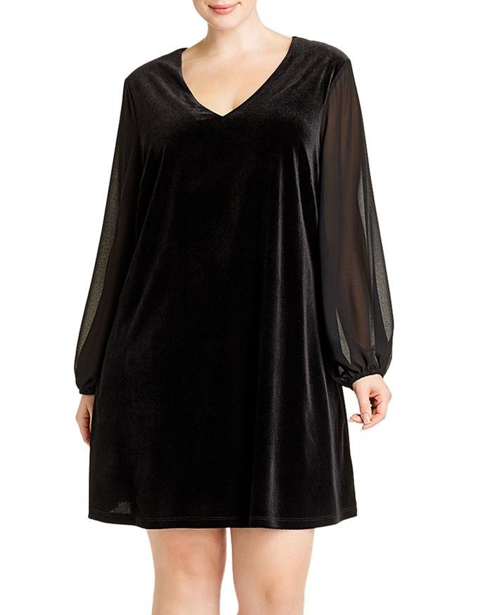 AQUA Curve - Velvet Chiffon-Sleeve Dress - 100% Exclusive