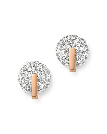 Roberto Coin - 18K Rose Gold Diamond Disc Stud Earrings