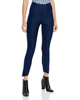 Lyssé - Asymmetric-Hem Denim Leggings