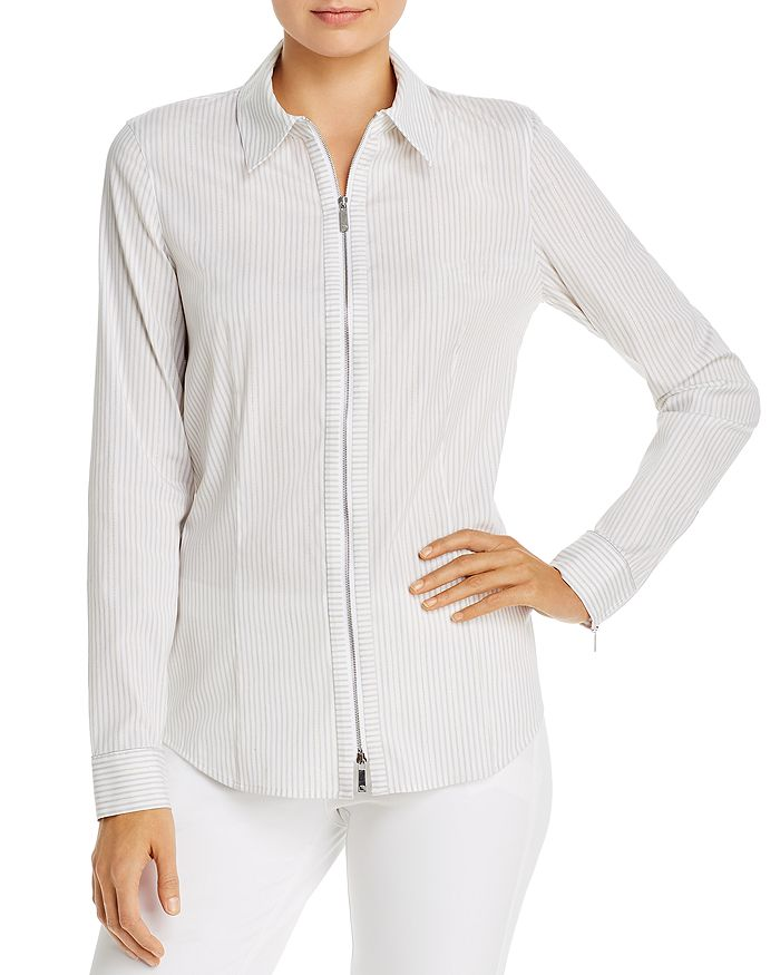 Lafayette 148 New York - Connor Striped Zip-Front Blouse