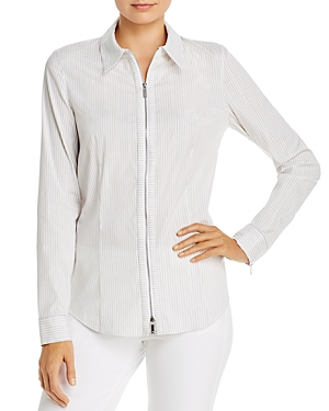 Lafayette 148 New York Connor Striped Zip-Front Blouse-Women