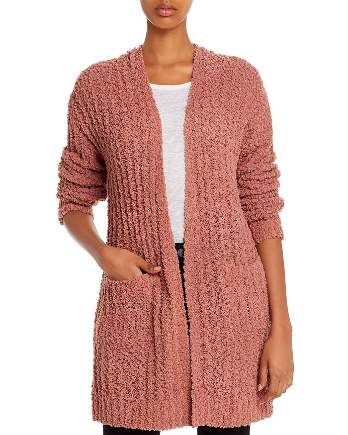 Alison Andrews Textured Open-front Knit Cardigan In Deep Mauve