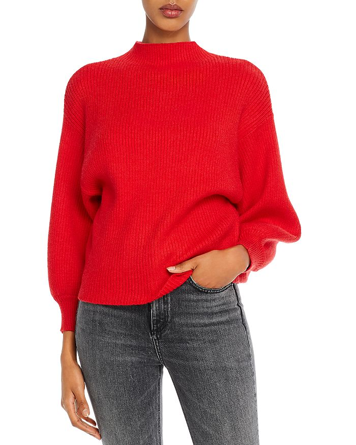 Line & Dot Sweaters FUNNEL-NECK RIBBED SWEATER
