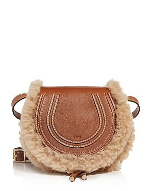 Chloe Marcie Small Leather & Shearling Crossbody