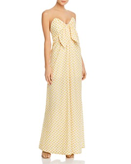 Significant Other - Strapless Floral-Embroidered Maxi Dress