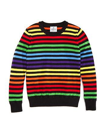AQUA - Girls' Rainbow-Stripe Sweater, Big Kid - 100% Exclusive