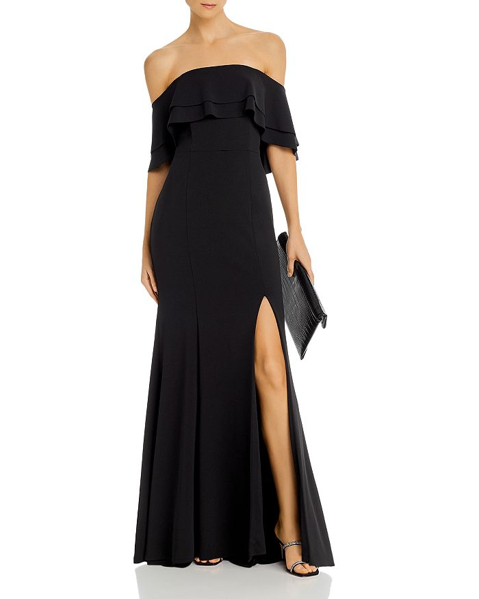 AQUA - Off-the-Shoulder Scuba Crêpe Gown - 100% Exclusive